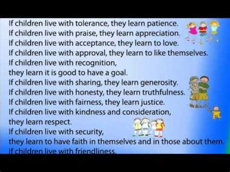 Children Learn What They Live - YouTube
