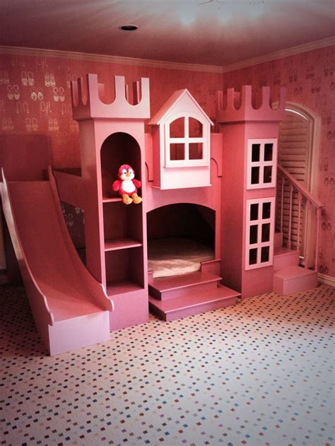 Princess castle twin tent bunk bed with slide by powell
