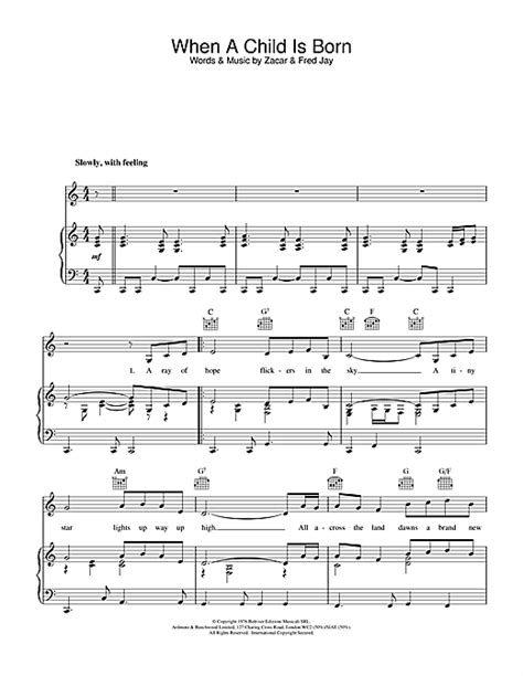 When A Child Is Born sheet music by Fred Jay (Piano, Vocal